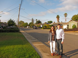 Shirley Chan and her husband, Jason Heimann, in their Burbank neighborhood. Chan's leadership has reignited the neighborhood association and brought new drive for improvement, says a fellow board member.