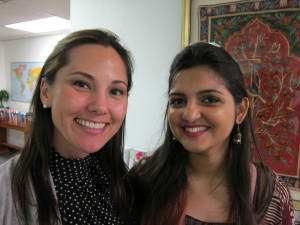 "Alicia Forbrich with teacher Sneha Singh, who is from Benares, India. Singh teaches Hindi and various computer languages. She considers herself a 'desi' (an Indian-born person who lives outside the country) and her boyfriend an ""ABC"" desi, an American-born confused desi."