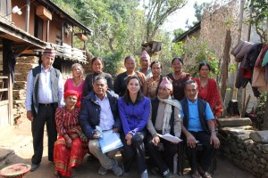 In November, Alicia Forbrich (center in blue) visited the Gorkha region of Nepal that is now at the epicenter of the earthquake. She is working with the director of the Gorkha Foundation, Bijaya Devkota, on her left, to get relief to residents. To her right is the principal of the Gorkha Elementary School, a sister school to the San Jose Learning Center. The ladies all received micro-loans to create business enterprises to allow them to help support their families. The other two men in the photo are teachers at the elementary school.
