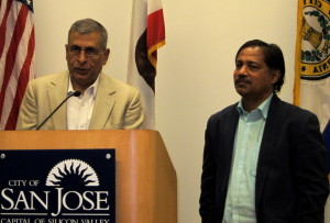 Indian venture capitalist Naren Gupta (left) and Khanderao Kand explained to reporters Thursday why the Indian-American community has responded so positively and strongly to Prime Minister Narendra Modi. (Photo by Sharon Simonson)