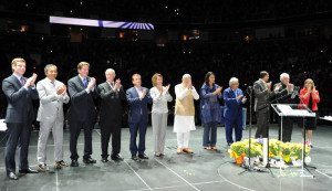 The prime minister was greeted onstage by multiple U.S. Congressmen and -women including Democratic Rep. Nancy Pelosi of San Francisco, the Minority Leader of the U.S. House of Representatives. California on September 27, 2015.