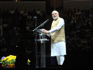 The Prime Minister, Shri Narendra Modi addressing the Indian community at the SAP Centre, in San Jose, California on September 27, 2015.