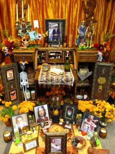 An altar for Dia de los Muertos that is part of a larger exhibit at the Martin Luther King Jr. Library in downtown San Jose. Mesoamericans gave thanks to their ancestors after successful harvests several times a year, offering the