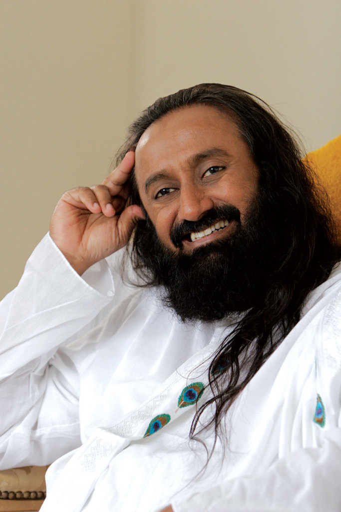 Sri Sri Ravi Shankar, founder and leader of The Art of Living, a Bangalore-based non-profit dedicated to world peace, one person at a time. Source: By Ceeabraham (Own work) [CC BY-SA 3.0 (http://creativecommons.org/licenses/by-sa/3.0)], via Wikimedia Commons