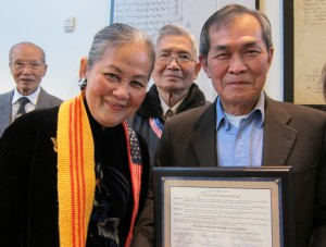 On April 14, 2015, San Jose Mayor Sam Liccardo and council people Tam Nguyen and Ash Kalra sponsored a city proclamation declaring Black April Remembrance Month. Some 75 mostly older Vietnamese men and women crowded the San Jose City Hall Council Chambers for the event.