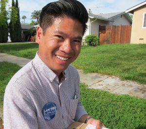 Vietnamese-American Lan Diep, a candidate for San Jose City Council, says his millennial peers are aware of Obama's visit to Vietnam. He believes being able to speak and read Vietnamese helps him stay more deeply connected. (Photo by Sharon Simonson)